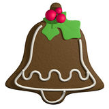 Gingerbread 3D cartoon christmas bell with holly Stock Photo