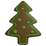 Gingerbread 3D cartoon christmas pine tree with ornaments Royalty Free Stock Photos