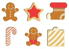 Gingerbread decorated colored icing. Qualitative vector illustration for new year`s day, christmas, winter holiday. Gingerbread man decorated colored icing Royalty Free Stock Photo