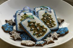 Gingerbread decorated with a pattern of glaze stock photo