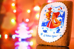 Gingerbread decorated with Santa claus Stock Photos