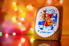 Gingerbread decorated with Santa claus Stock Photo