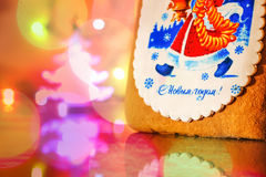 Gingerbread decorated with Santa claus Royalty Free Stock Image