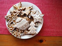 Gingerbread decorated white Royalty Free Stock Photo