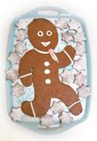 Gingerbread doll with chocolate and stars stock images