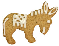 Gingerbread donkey with clipping path. Donkey gingerbread cookie isolated on white with clipping path Stock Photo
