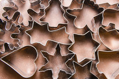 Gingerbread dough and Christmas cookie cutters Stock Image
