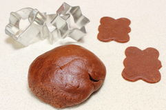 Gingerbread dough for Christmas cookies and cookie cutters Stock Image