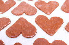 Gingerbread dough for Christmas cookies, shape of heart Stock Photography