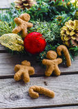 Gingerbread dough for christmas. Gingerbread dough for gingerbread men and forms for cookies Royalty Free Stock Image