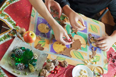 Gingerbread dough with hands Royalty Free Stock Image
