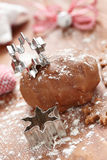 Gingerbread dough and snowflake cutter Royalty Free Stock Images
