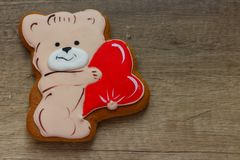Gingerbread with drawings of the beast with hearts for the feast of the holy valentine. Gingerbread with animals, with hearts on holiday, valentine Stock Photography