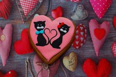 Gingerbread with drawings of the beast with hearts for the feast of the holy valentine. Gingerbread with animals, with hearts on holiday, valentine Royalty Free Stock Photo