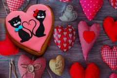 Gingerbread with drawings of the beast with hearts for the feast of the holy valentine. Gingerbread with animals, with hearts on holiday, valentine Royalty Free Stock Image