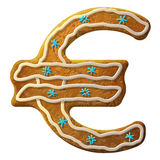 Gingerbread euro decorated colored icing Stock Images