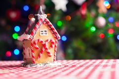 Gingerbread fairy house decorated by colorful Stock Image