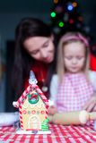 Gingerbread fairy house decorated by colorful Stock Photos