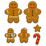 Gingerbread Family. An illustration set of a cute gingerbread family Stock Photo