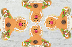 Gingerbread family background for happy holidays Royalty Free Stock Images