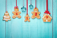 Gingerbread family border Royalty Free Stock Photography