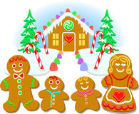 Gingerbread Family/eps. Christmas illustration of a gingerbread cookie family and their candy house stock illustration