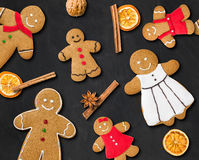 Gingerbread figures on a blackboard Stock Image