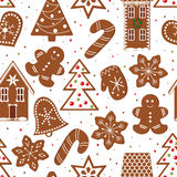 Gingerbread figures seamless pattern vector Royalty Free Stock Image