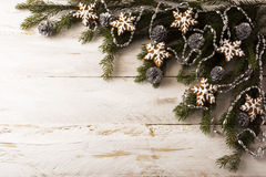 Gingerbread and fir branches stock photography