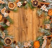 Gingerbread on fir tree braches Stock Images