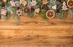 Gingerbread on fir tree braches Stock Photo