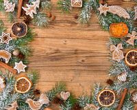 Gingerbread with fir tree braches Stock Photo