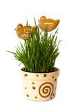 gingerbread flowerpot birdson Стоковая Фотография RF