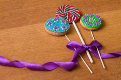 Gingerbread with flowers and lollipop Royalty Free Stock Image