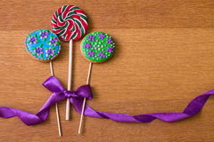 Gingerbread with flowers and lollipop Royalty Free Stock Images