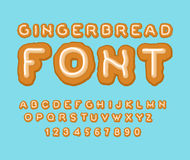 Gingerbread font. Christmas cookie Alphabet . Mint Cookies ABC. Stock Image