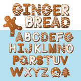 Gingerbread font and gingerbread man. EPS 10 vector royalty free illustration