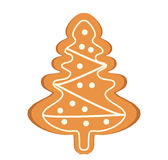 Gingerbread in the form of Christmas tree vector icon. Isolated on white background. Royalty Free Stock Photos
