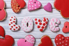 Gingerbread in the form of hearts and letters Royalty Free Stock Photos