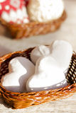 Gingerbread in the form of hearts in a wooden basket. Photo for illustration of articles about Valentine`s Day Royalty Free Stock Photo