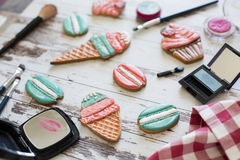 Gingerbread in the form of ice cream and macaron on wooden background Stock Image