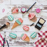 Gingerbread in the form of ice cream and macaron on wooden background Stock Photography