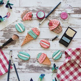 Gingerbread in the form of ice cream and macaron on wooden background Stock Photos