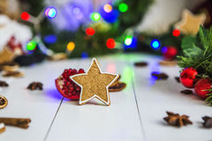 Gingerbread in the form of stars, red Christmas balls, dried lemons, cinnamon and green garland and lights Stock Photos