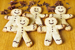 Gingerbread of the gingerbread man. On the table Stock Photos