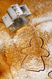 Gingerbread girl cookie cutter from above Stock Photo
