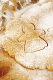 Gingerbread girl cookie cutter from above Stock Photos