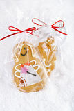 Gingerbread girl cookie gift in clear bag Royalty Free Stock Photography
