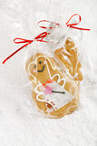Gingerbread girl cookie gift in clear bag Royalty Free Stock Image