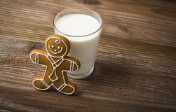 Gingerbread with a glass of milk Stock Photography
